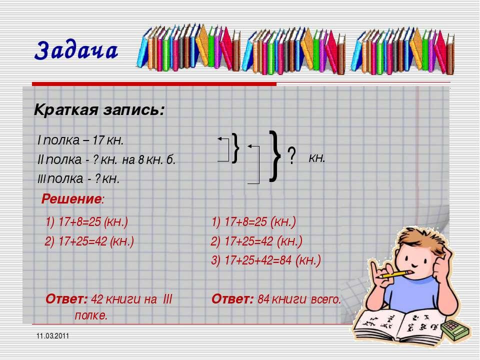 11.03.2011 * Краткая запись: I полка – 17 кн. II полка - ? кн. на 8 кн. б. II...