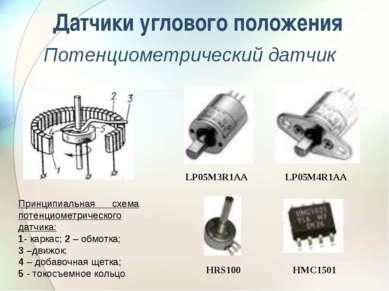 Датчики углового положения Потенциометрический датчик Принципиальная схема по...