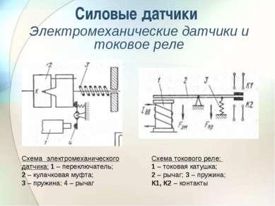 Силовые датчики Электромеханические датчики и токовое реле Схема электромехан...