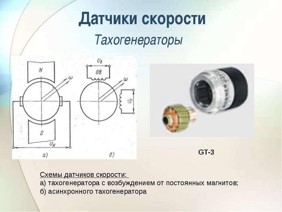 Датчики скорости Тахогенераторы Схемы датчиков скорости: а) тахогенератора с ...