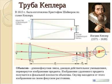 Труба Кеплера Иоганн Кеплер (1571 – 1630) В 1613 г. была изготовлена Кристофо...