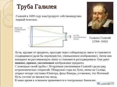 Труба Галилея Галилео Галилей (1564- 1642) Галилей в 1609 году конструирует с...