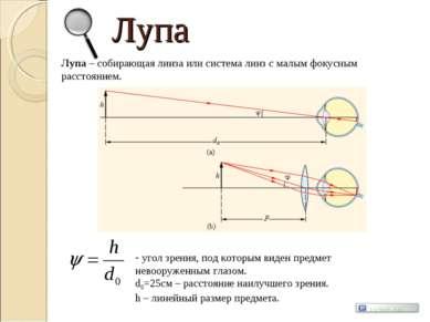 Лупа Лупа – собирающая линза или система линз с малым фокусным расстоянием. у...