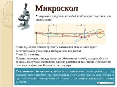 Микроскоп Микроскоп представляет собой комбинацию двух линз или систем линз. ...