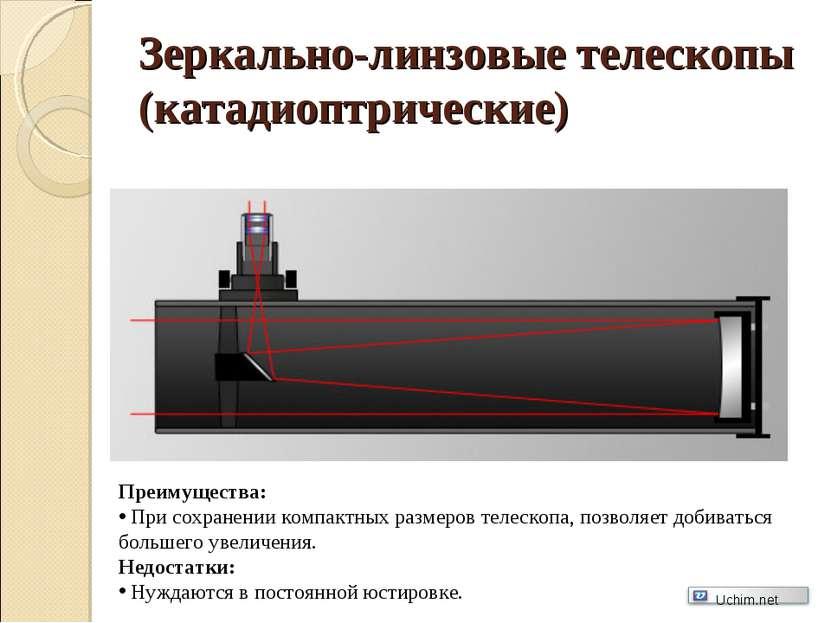 Зеркально-линзовые телескопы (катадиоптрические) Преимущества: При сохранении...