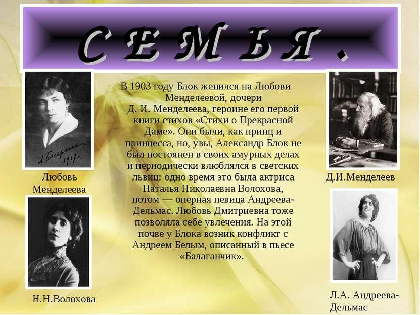 С Е М Ь Я . В 1903 году Блок женился на Любови Менделеевой, дочери Д.И.Менд...