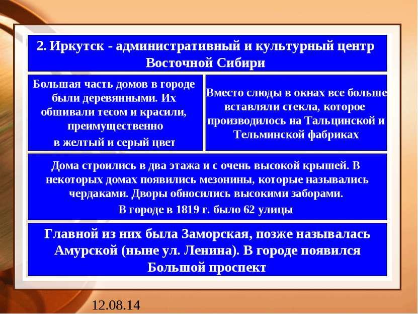 2. Иркутск - административный и культурный центр Восточной Сибири Большая час...