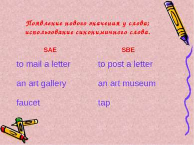 Появление нового значения у слова; использование синонимичного слова. SAE SBE...