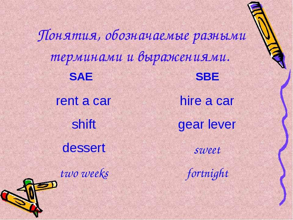 Понятия, обозначаемые разными терминами и выражениями. SAE SBE rent a car hir...