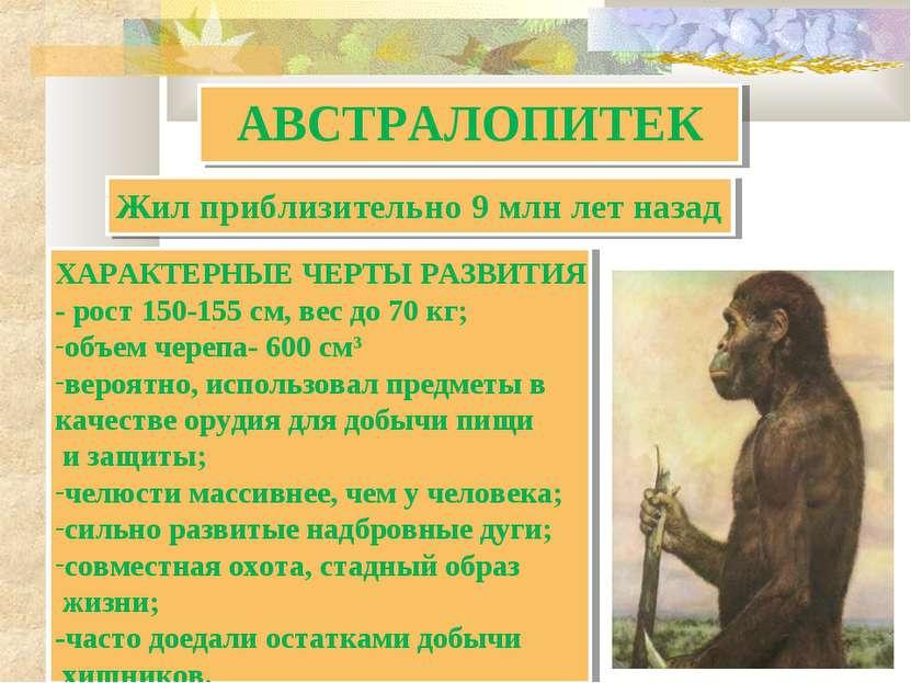 АВСТРАЛОПИТЕК ХАРАКТЕРНЫЕ ЧЕРТЫ РАЗВИТИЯ - рост 150-155 см, вес до 70 кг; объ...