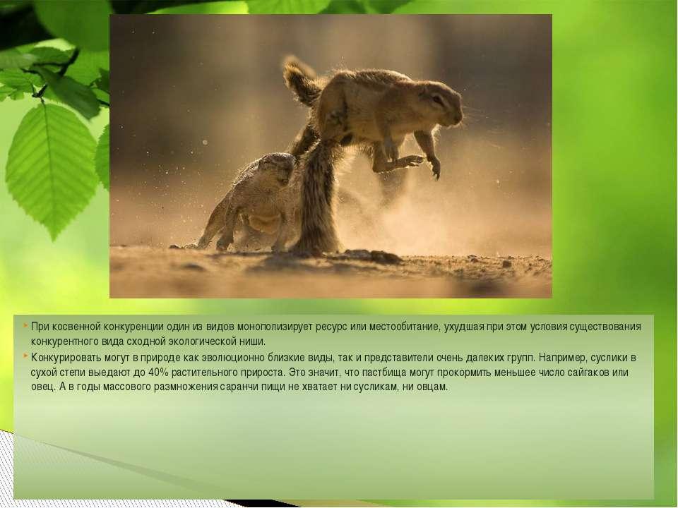 При косвенной конкуренции один из видов монополизирует ресурс илиместообитан...