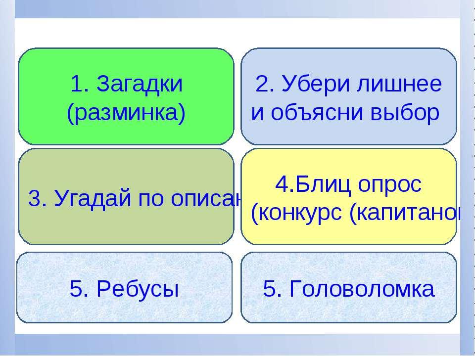 3. Угадай по описанию 4.Блиц опрос (конкурс (капитанов) 1. Загадки (разминка)...