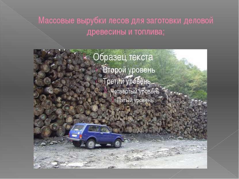 Массовые вырубки лесов для заготовки деловой древесины и топлива;