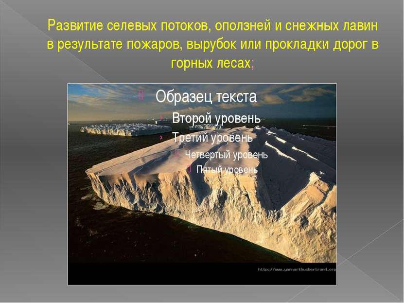 Развитие селевых потоков, оползней и снежных лавин в результате пожаров, выру...