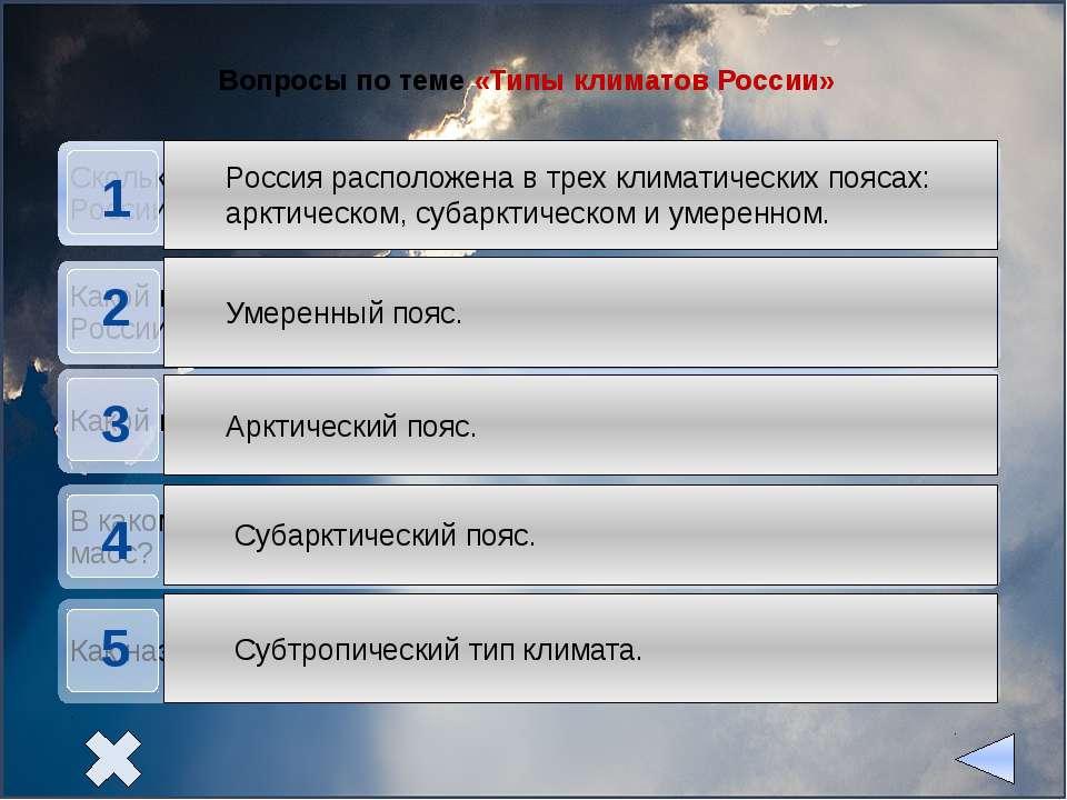 Вопросы по теме «Типы климатов России»