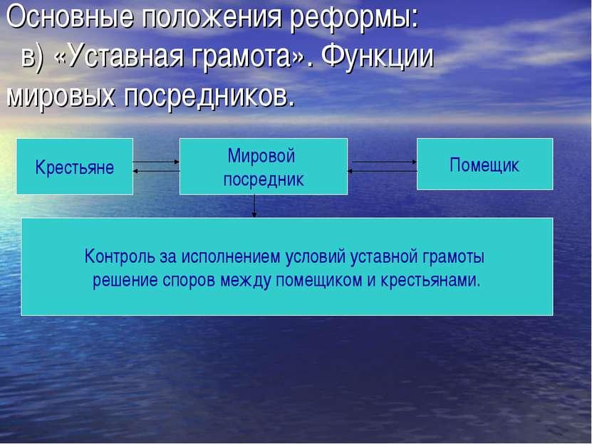 Основные положения реформы: в) «Уставная грамота». Функции мировых посреднико...