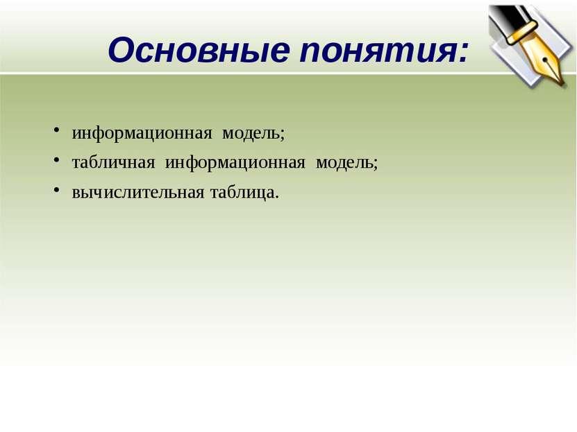 Основные понятия: информационная модель; табличная информационная модель; выч...