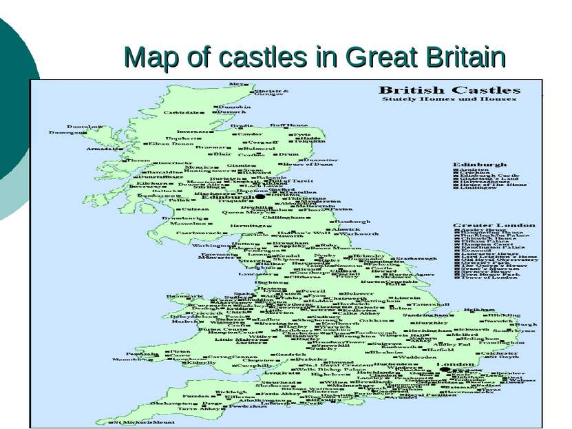 Map of castles in Great Britain