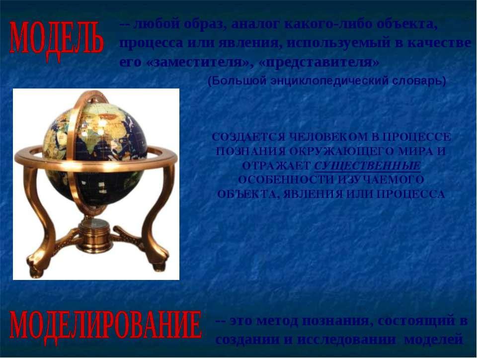 -- любой образ, аналог какого-либо объекта, процесса или явления, используемы...
