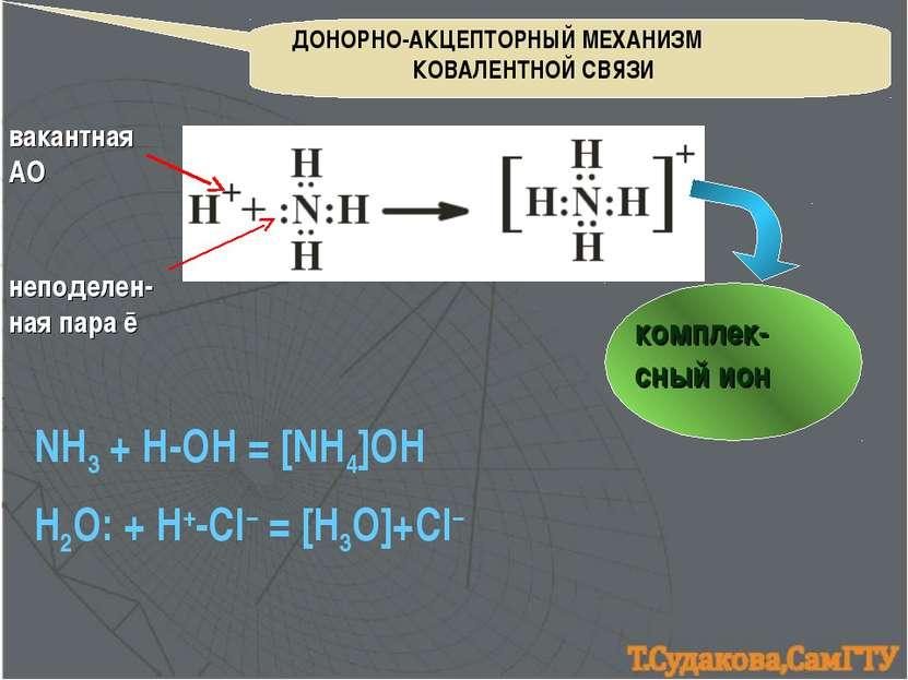 ДОНОРНО-АКЦЕПТОРНЫЙ МЕХАНИЗМ КОВАЛЕНТНОЙ СВЯЗИ NH3 + H-OH = [NH4]OH вакантная...
