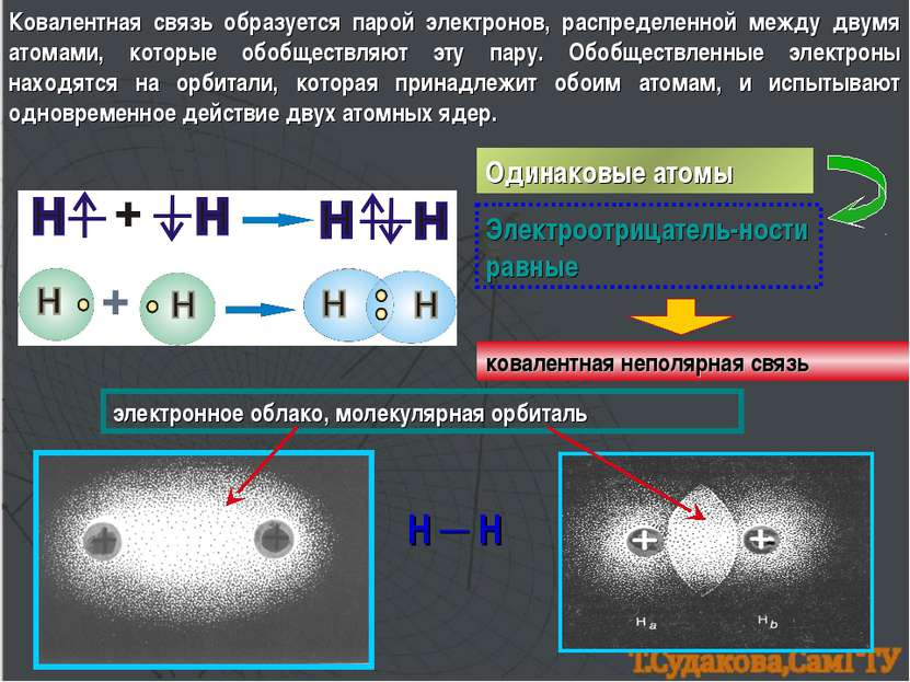Ковалентная связь образуется парой электронов, распределенной между двумя ато...