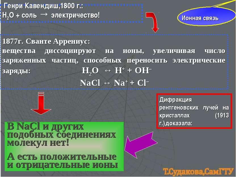 Ионная связь Генри Кавендиш,1800 г.: Н2О + соль → электричество! 1877г. Свант...