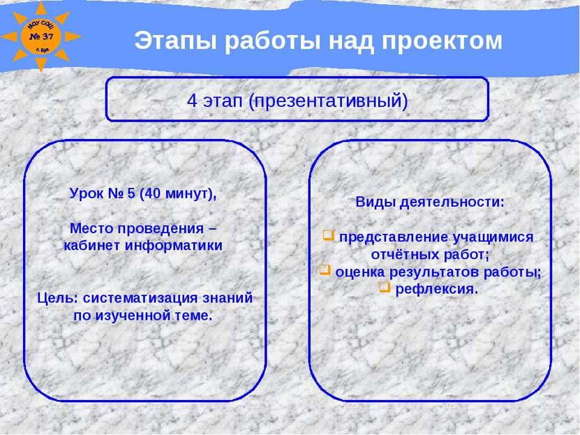 Этапы работы над проектом 4 этап (презентативный) Урок № 5 (40 минут), Место ...