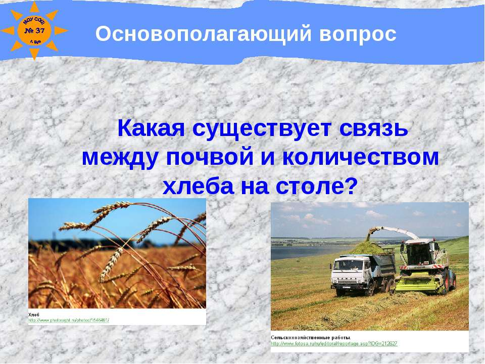 Основополагающий вопрос Какая существует связь между почвой и количеством хле...