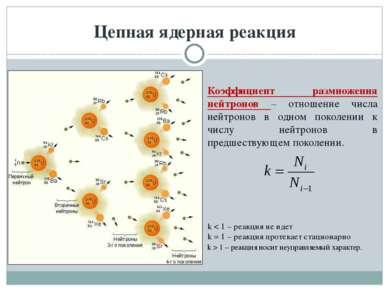 Цепная ядерная реакция Коэффициент размножения нейтронов – отношение числа не...