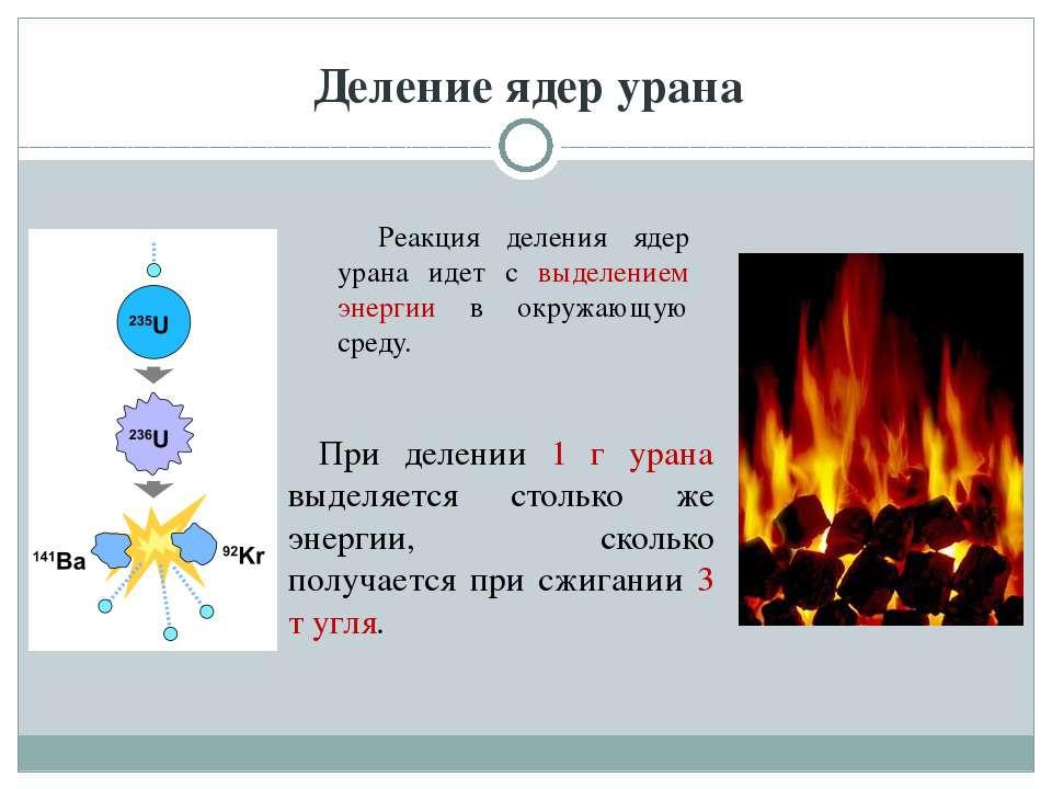 Деление ядер урана Реакция деления ядер урана идет с выделением энергии в окр...