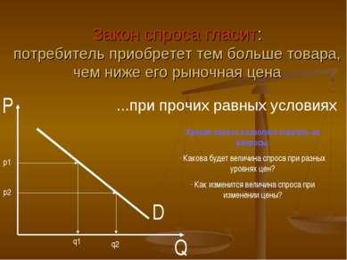 D P Q Закон спроса гласит: потребитель приобретет тем больше товара, чем ниже...