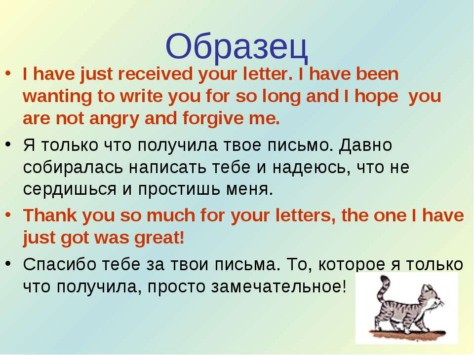 Образец I have just received your letter. I have been wanting to write you fo...
