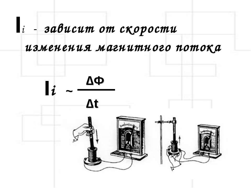 Ii - зависит от скорости изменения магнитного потока ∆Φ ∆t Ii ~