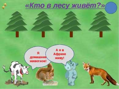 «Кто в лесу живёт?» Я домашнее животное! А я в Африке живу!