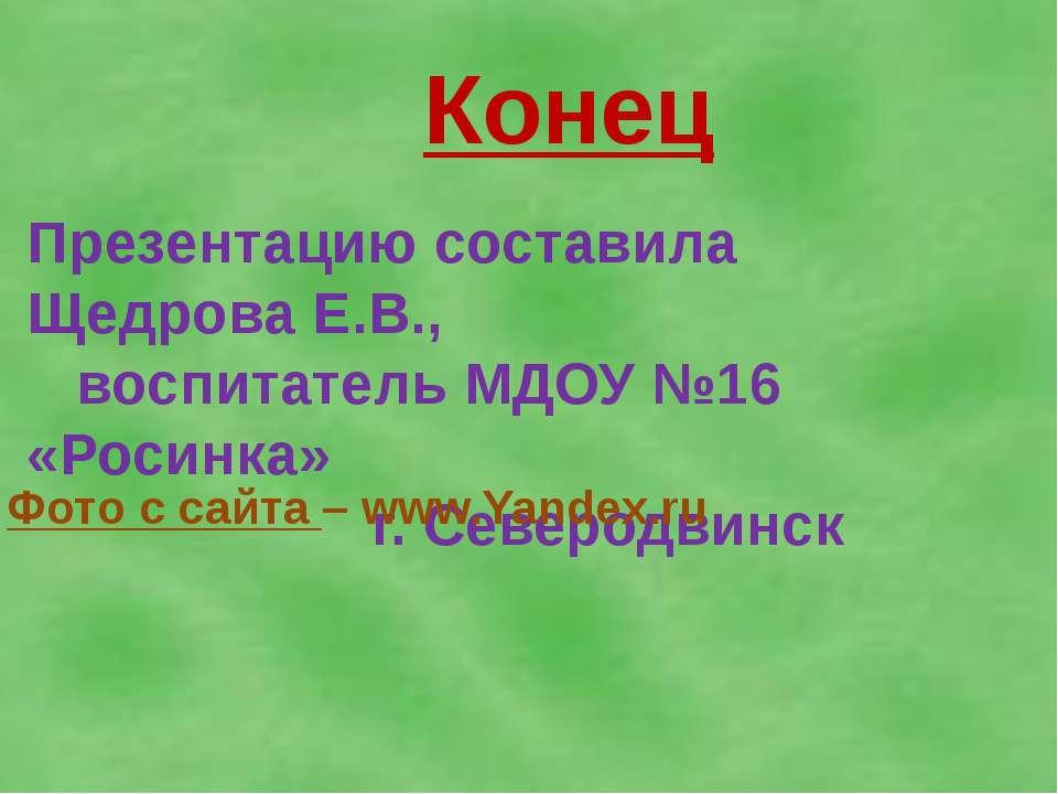 Конец Презентацию составила Щедрова Е.В., воспитатель МДОУ №16 «Росинка» г. С...