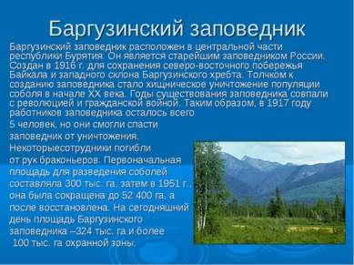 Баргузинский заповедник Баргузинский заповедник расположен в центральной част...
