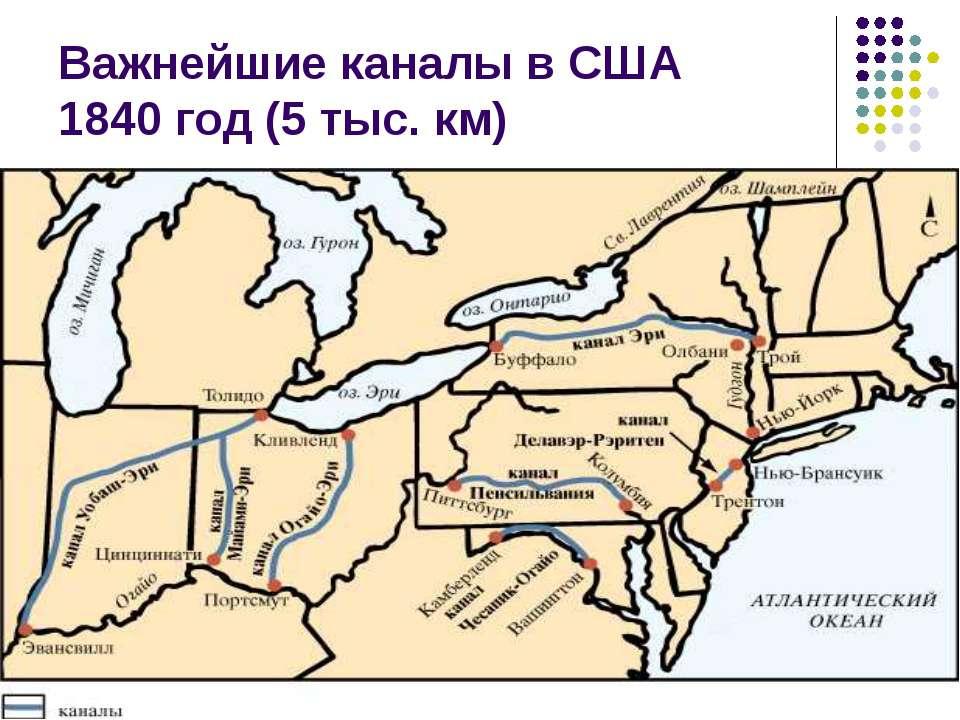 Важнейшие каналы в США 1840 год (5 тыс. км)