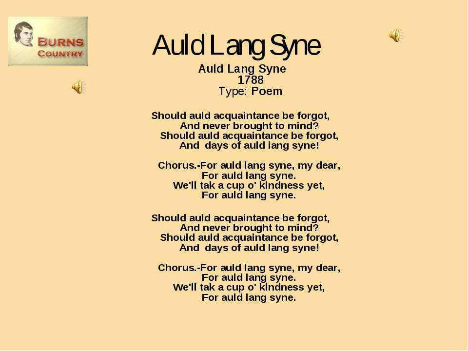 Auld Lang Syne Auld Lang Syne 1788 Type: Poem Should auld acquaintance be for...