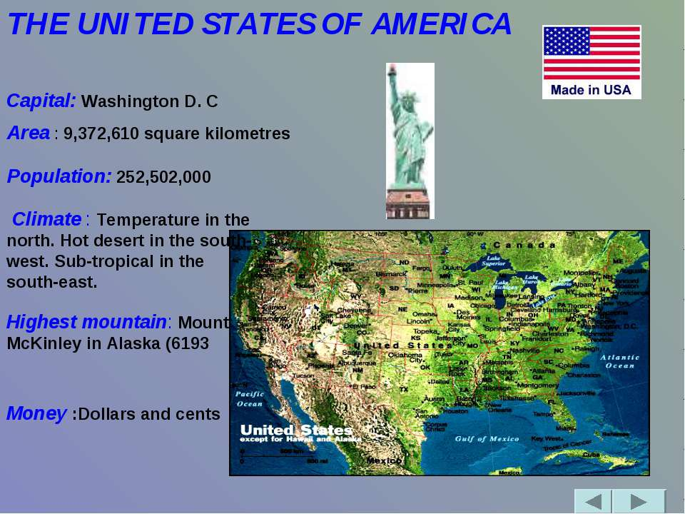 THE UNITED STATES OF AMERICA               Capital: Washington D. C Area : 9,...