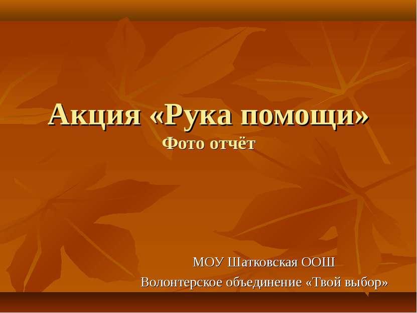 Акция «Рука помощи» Фото отчёт МОУ Шатковская ООШ Волонтерское объединение «Т...