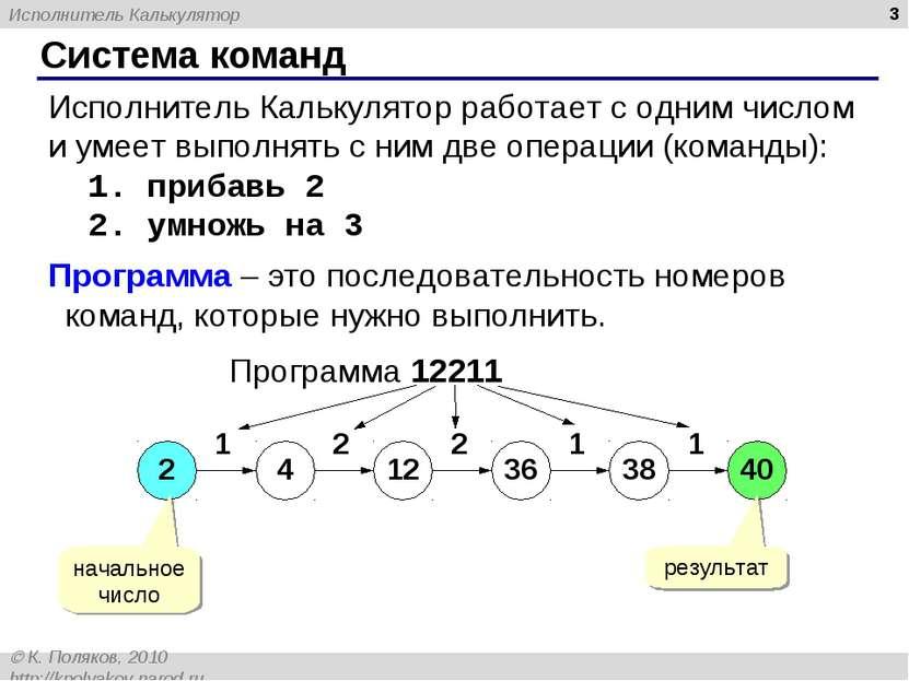 * Система команд Исполнитель Калькулятор работает с одним числом и умеет выпо...