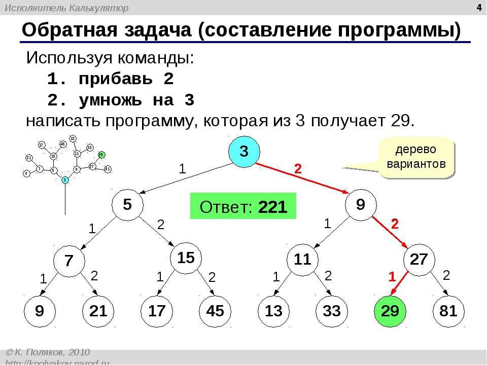 * Обратная задача (составление программы) Используя команды: 1. прибавь 2 2. ...