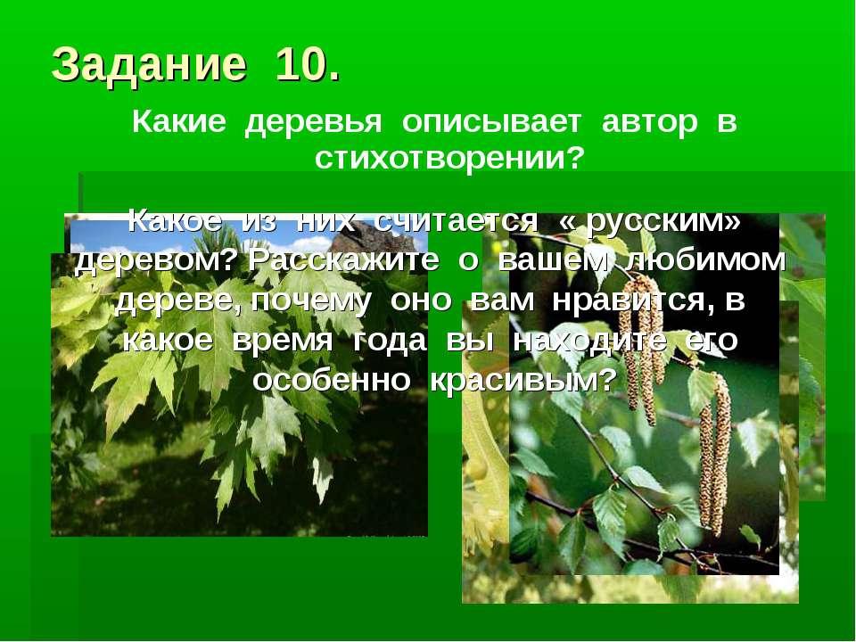 Задание 10. Какие деревья описывает автор в стихотворении? Какое из них счита...