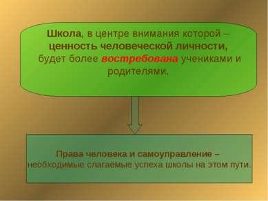 Школа, в центре внимания которой – ценность человеческой личности, будет боле...