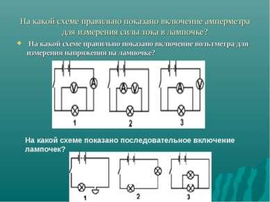 На какой схеме правильно показано включение амперметра для измерения силы ток...