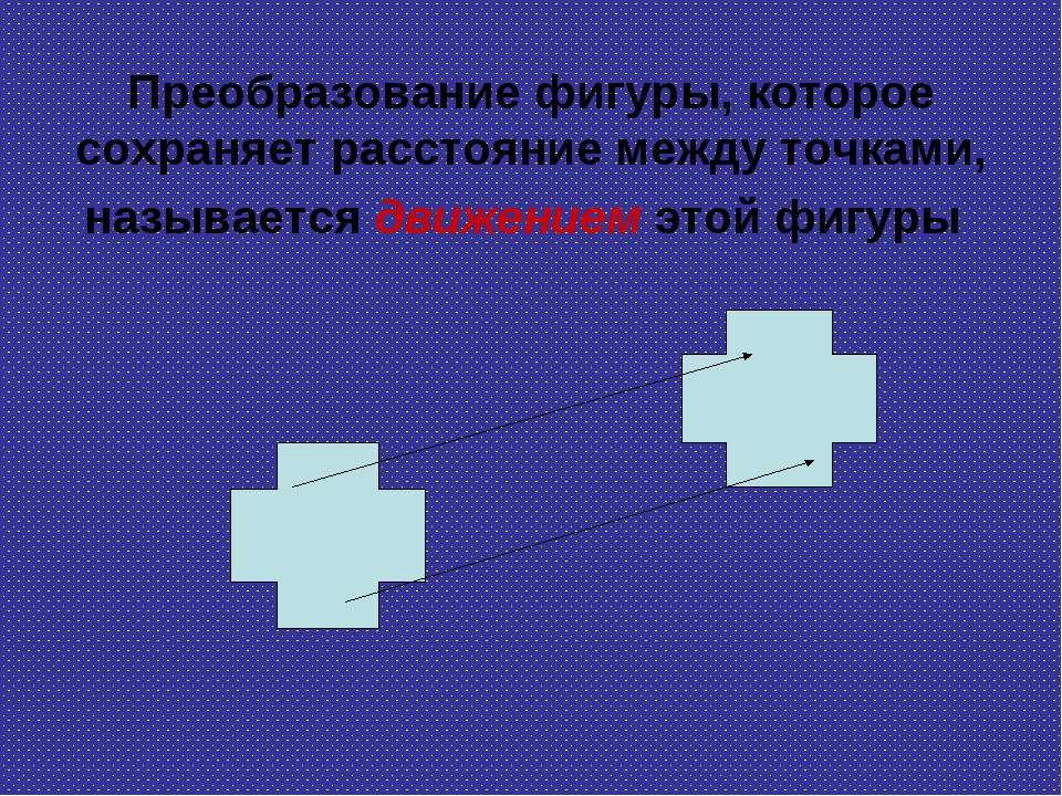 Преобразование фигуры, которое сохраняет расстояние между точками, называется...