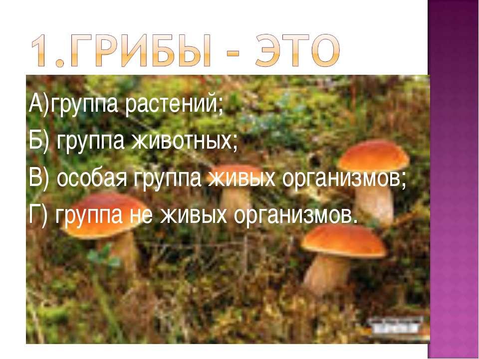 А)группа растений; Б) группа животных; В) особая группа живых организмов; Г) ...
