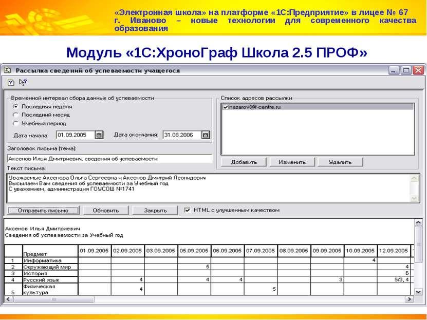 Модуль «1С:ХроноГраф Школа 2.5 ПРОФ» «Электронная школа» на платформе «1С:Пре...