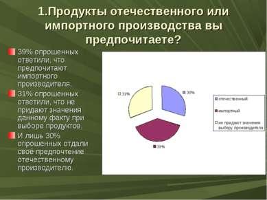 1.Продукты отечественного или импортного производства вы предпочитаете? 39% о...