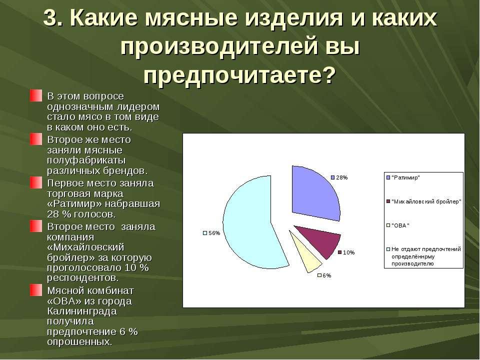 3. Какие мясные изделия и каких производителей вы предпочитаете? В этом вопро...